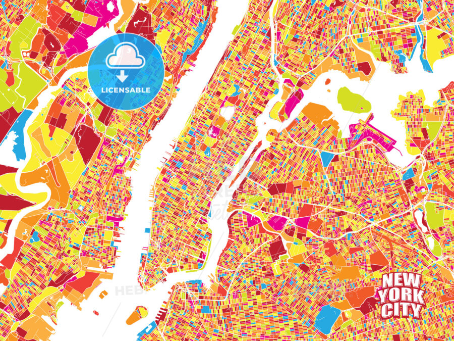 Colorful vector map of New York City - HEBSTREITS