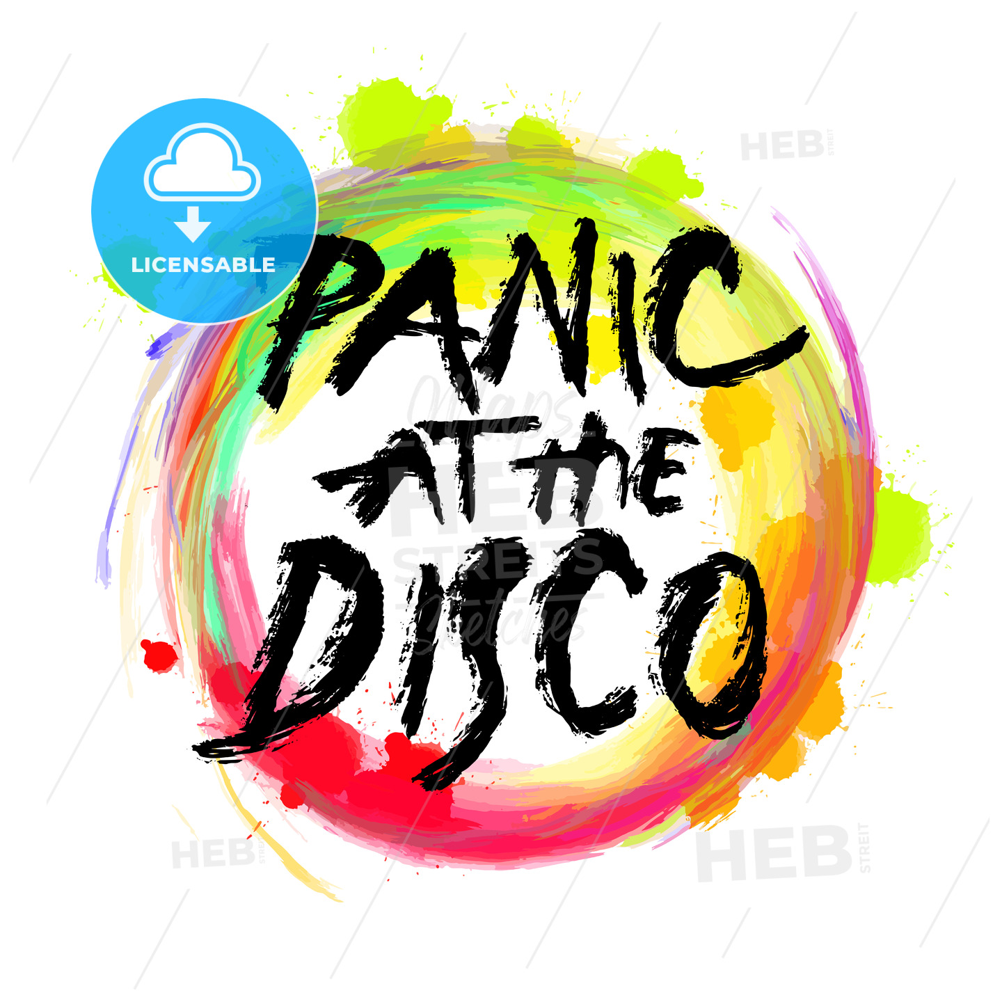 Panic at the disco. lettering on colorful backgound - HEBSTREITS