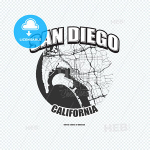 San Diego, California, logo artwork - HEBSTREITS