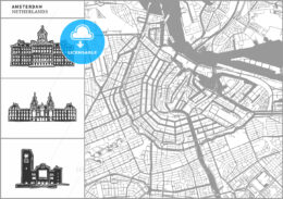 Amsterdam city map with hand-drawn architecture icons - HEBSTREITS
