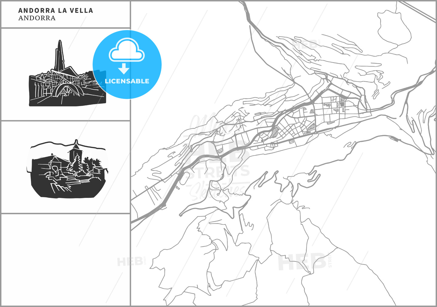 Andorra la Vella city map with hand-drawn architecture icons - HEBSTREITS
