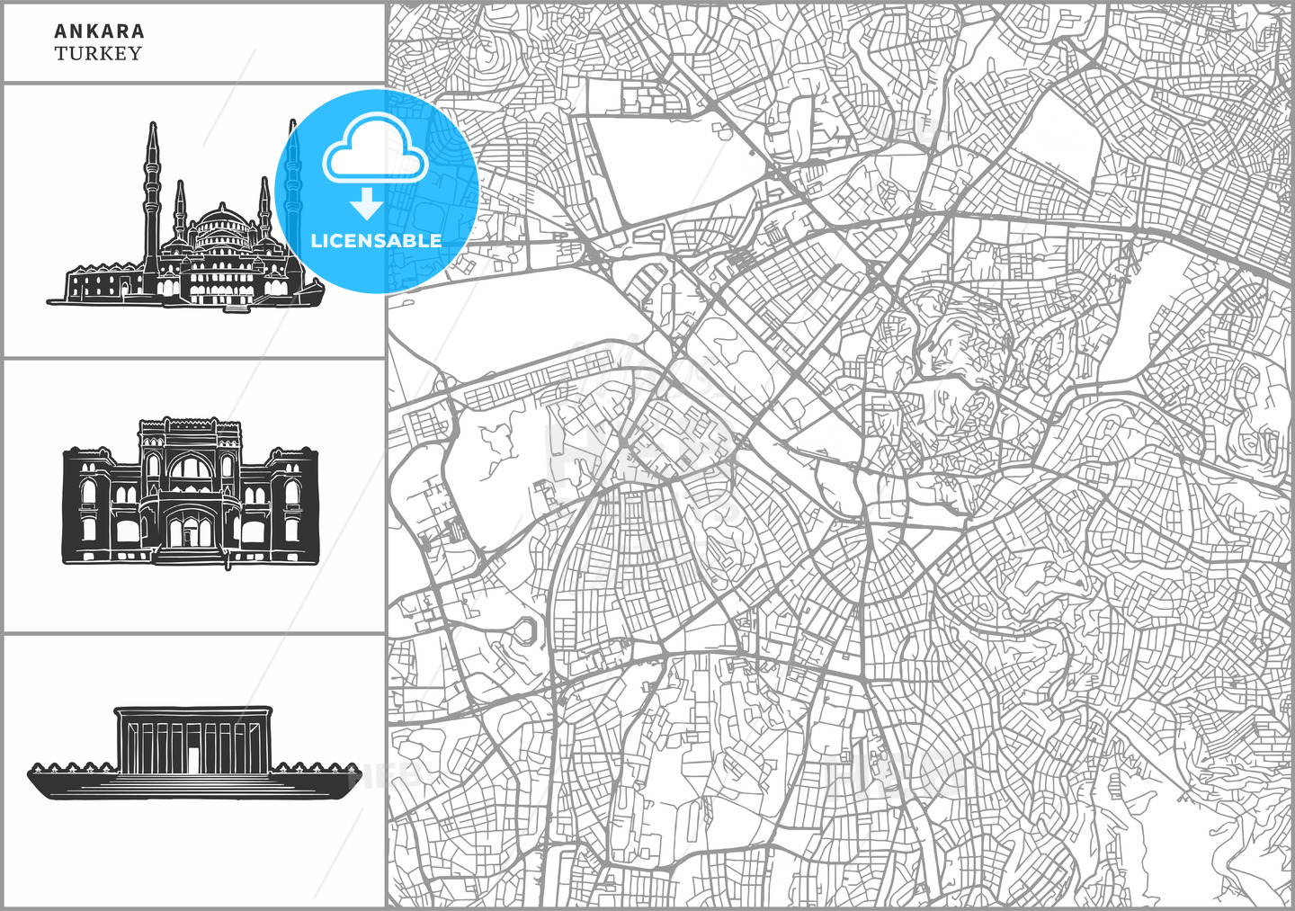 Ankara city map with hand-drawn architecture icons - HEBSTREITS