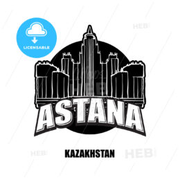Astana, Kazakhstan, black and white logo