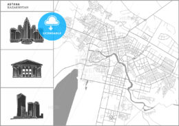 Astana city map with hand-drawn architecture icons