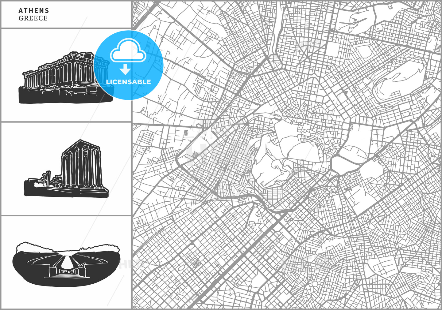 Athens city map with hand-drawn architecture icons - HEBSTREITS