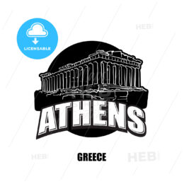 Athens, temple, black and white logo