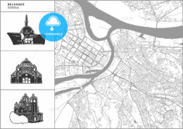 Belgrade city map with hand-drawn architecture icons