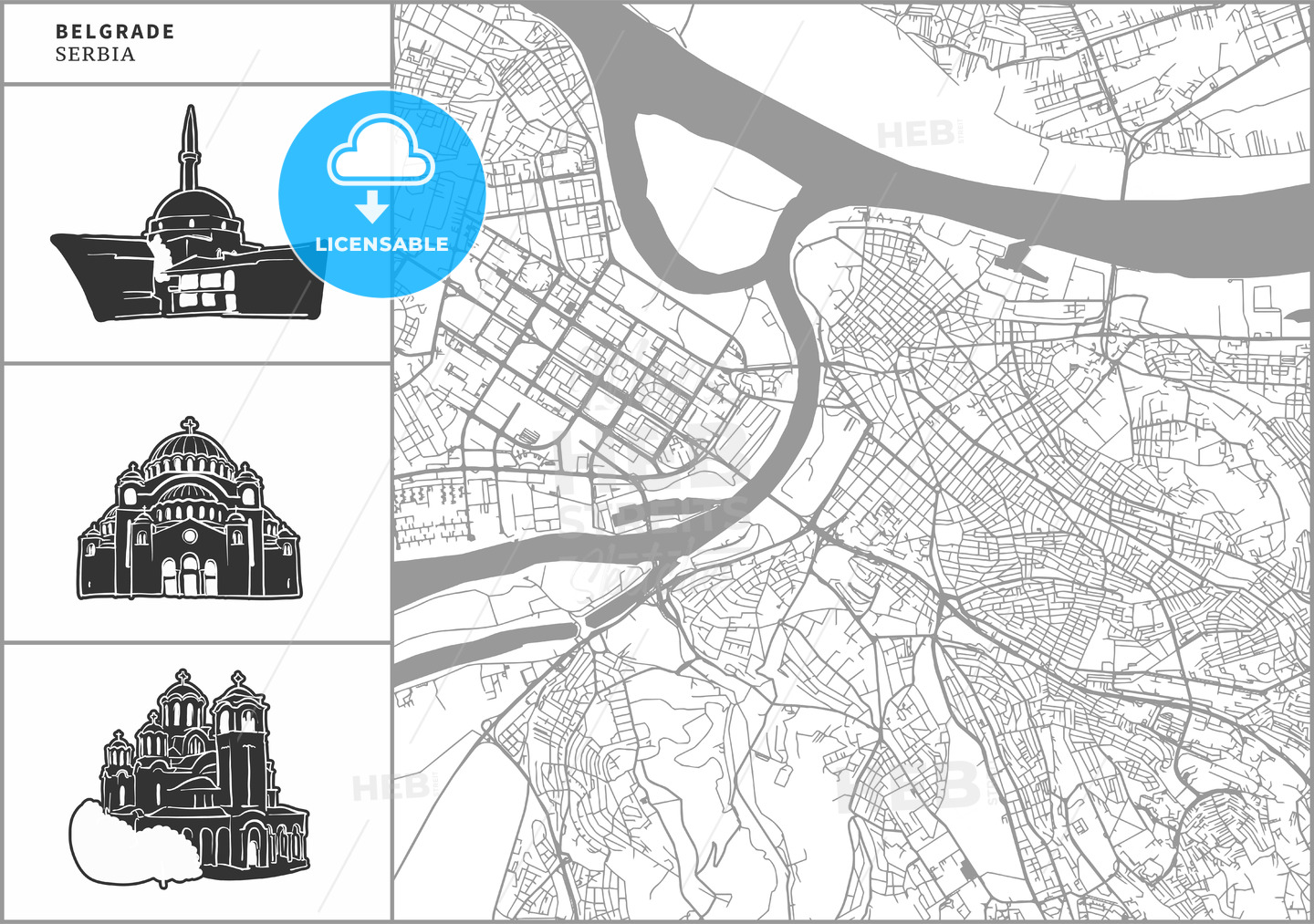 Belgrade city map with hand-drawn architecture icons - HEBSTREITS