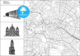 Berlin city map with hand-drawn architecture icons