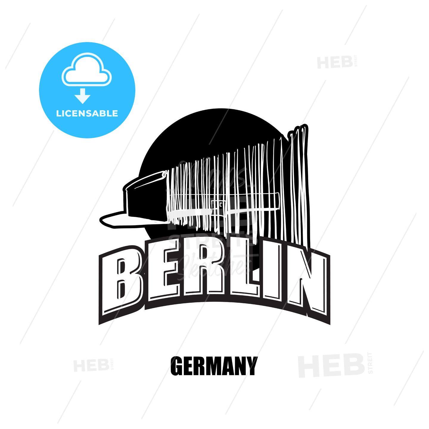 Berlin, wall, black and white logo - HEBSTREITS