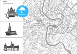 Bern city map with hand-drawn architecture icons