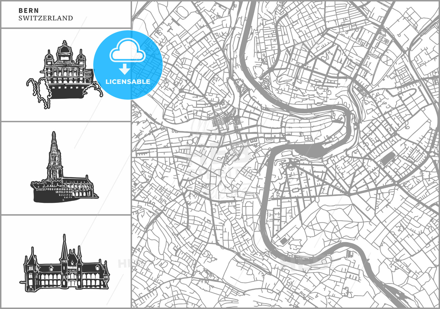 Bern city map with hand-drawn architecture icons - HEBSTREITS