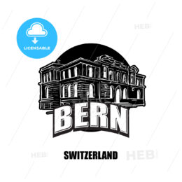 Bern, switzerland, black and white logo