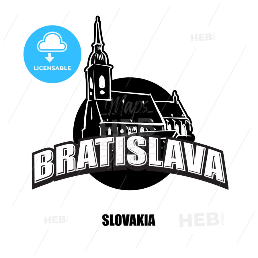 Bratislava church black and white logo - HEBSTREITS