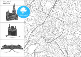 Brussels city map with hand-drawn architecture icons