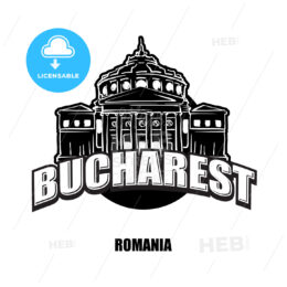 Bucharest, Romania, black and white logo