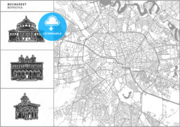 Bucharest city map with hand-drawn architecture icons