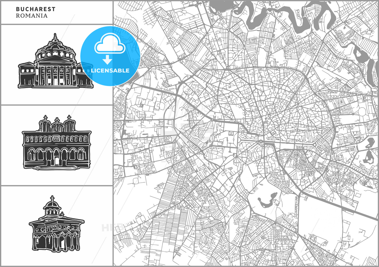 Bucharest city map with hand-drawn architecture icons - HEBSTREITS