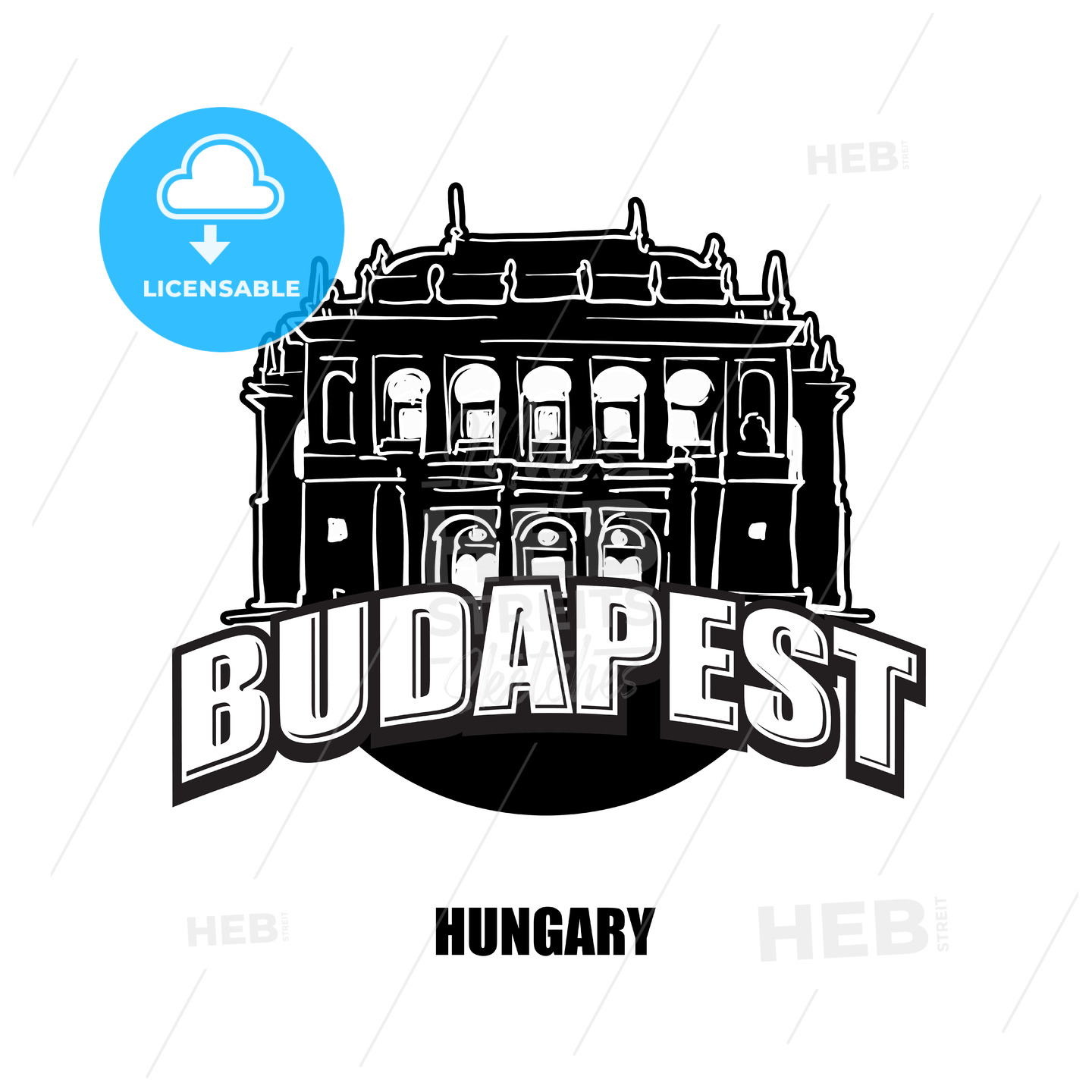 Budapest, Opera, black and white logo - HEBSTREITS