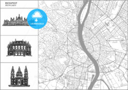 Budapest city map with hand-drawn architecture icons