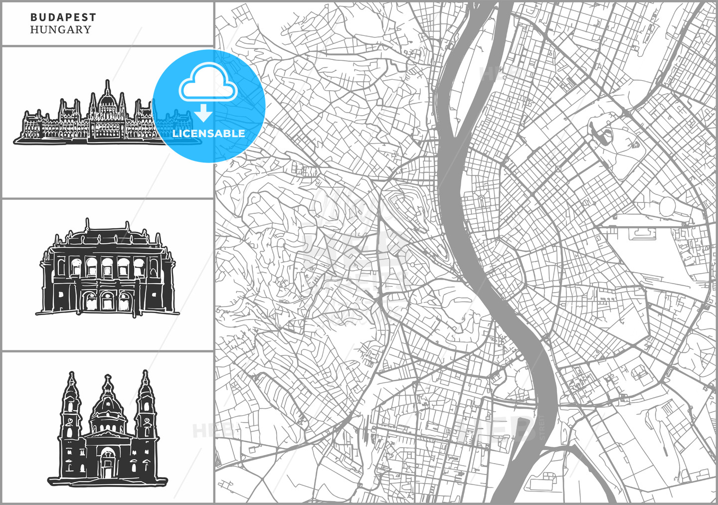 Budapest city map with hand-drawn architecture icons - HEBSTREITS