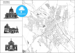 Chisinau city map with hand-drawn architecture icons