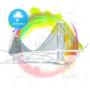 Colored landmark of Golden Gate Bridge - HEBSTREITS