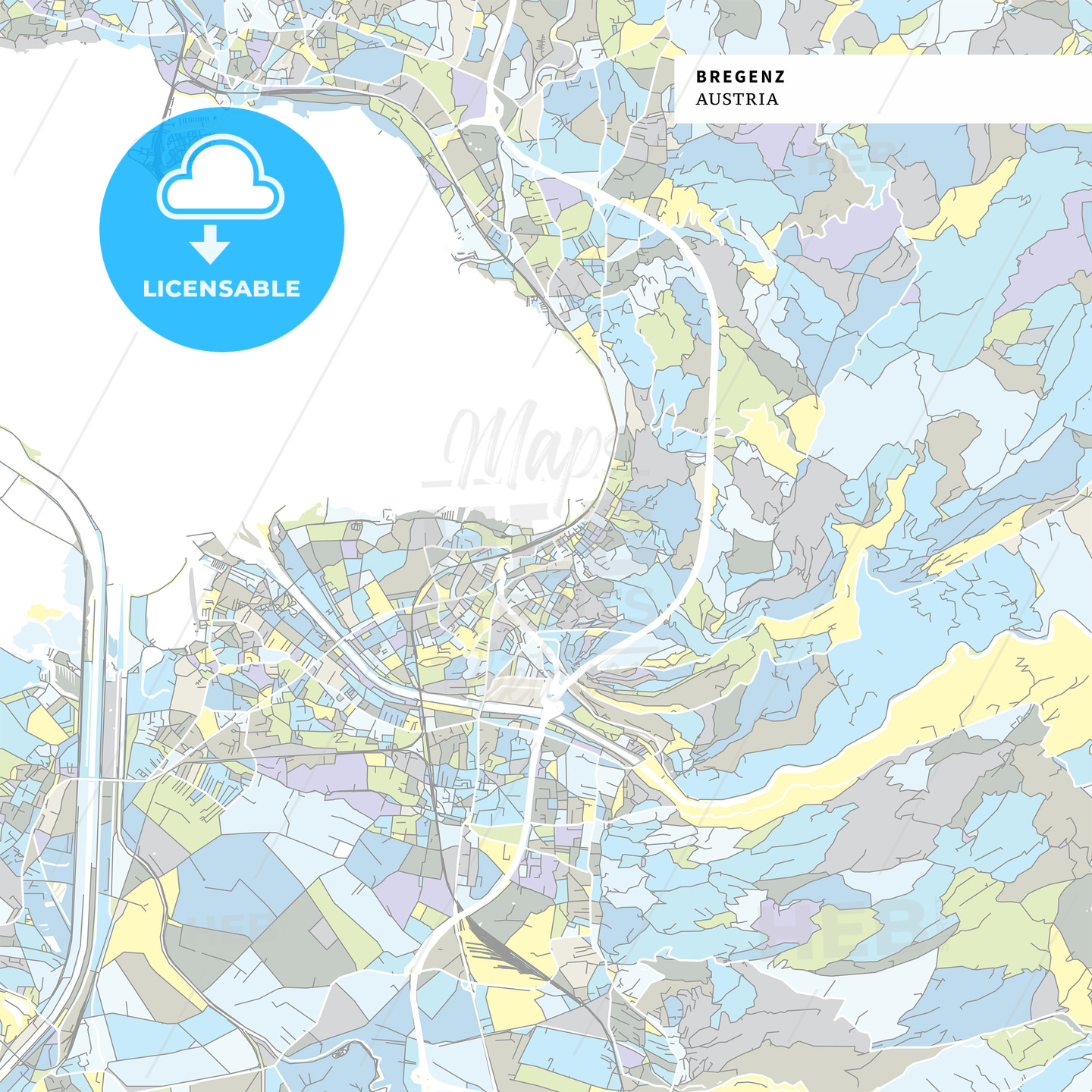 Colorful map of Bregenz, Austria - HEBSTREITS
