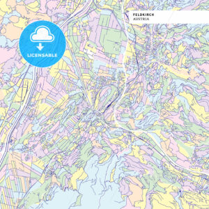 Colorful map of Feldkirch, Austria - HEBSTREITS