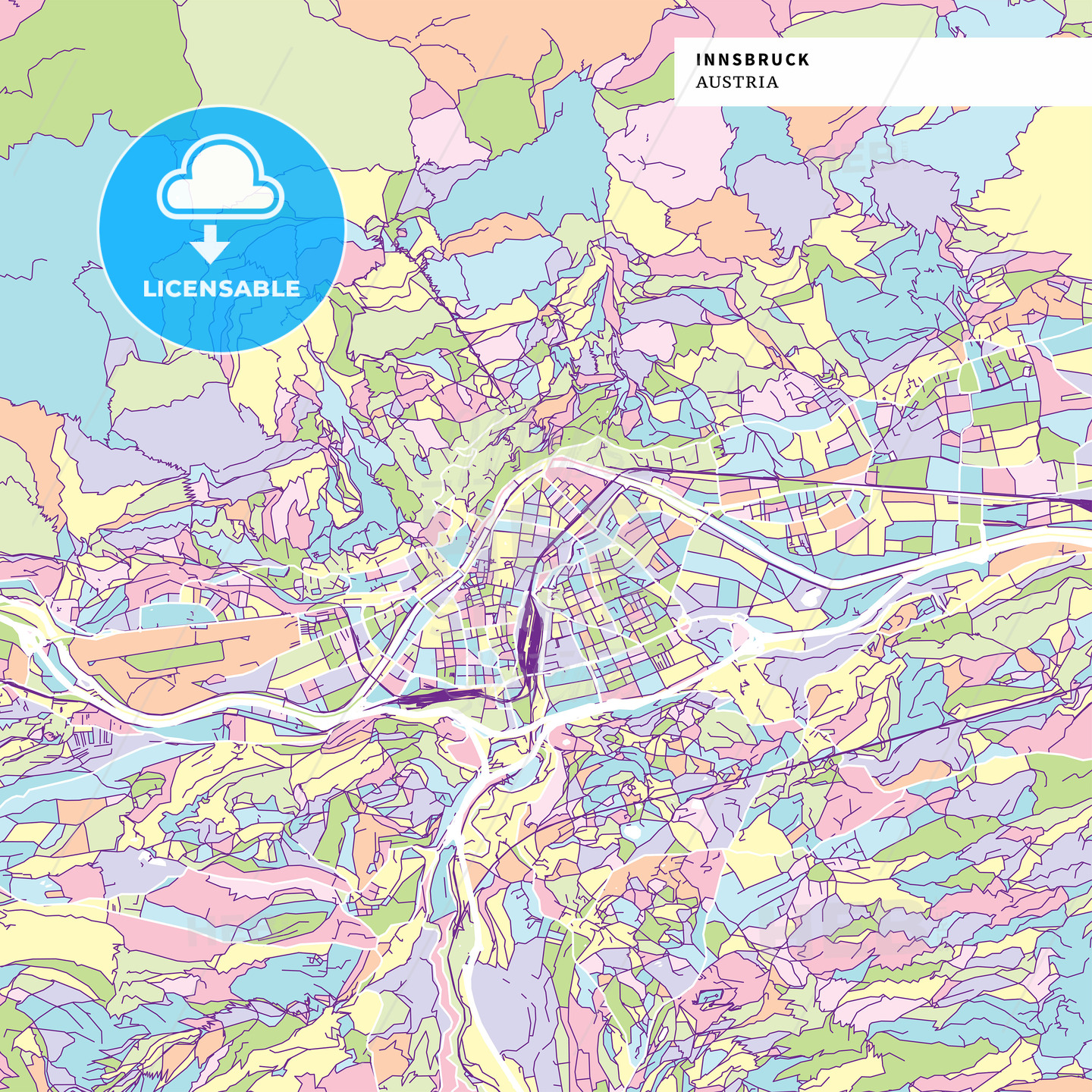 Colorful map of Innsbruck, Austria - HEBSTREITS