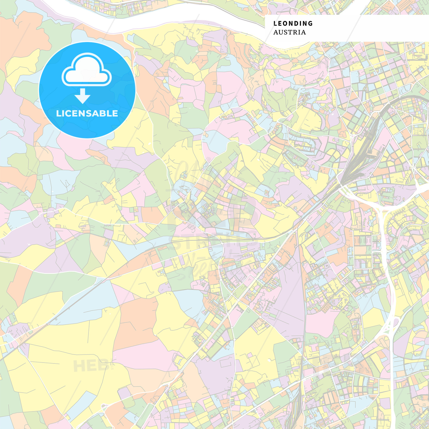 Colorful map of Leonding, Austria - HEBSTREITS