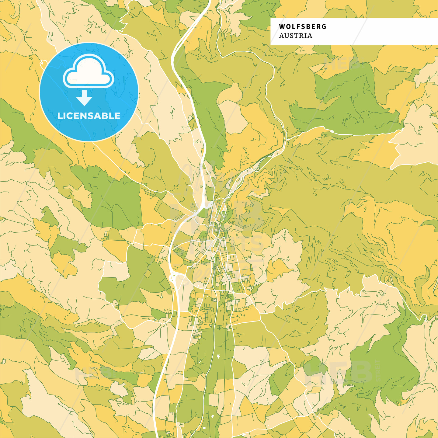 Colorful map of Wolfsberg, Austria - HEBSTREITS