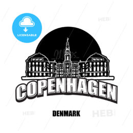 Copenhagen, Denmark, black and white logo