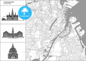 Copenhagen city map with hand-drawn architecture icons - HEBSTREITS