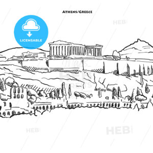 Drawing of Athens acroplolis. - HEBSTREITS