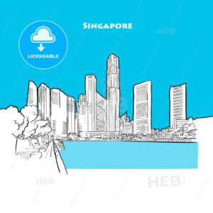 Drawing of Singapore downtown. - HEBSTREITS