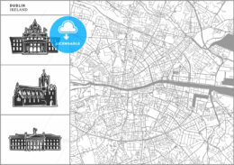 Dublin city map with hand-drawn architecture icons