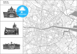 Dublin city map with hand-drawn architecture icons - HEBSTREITS