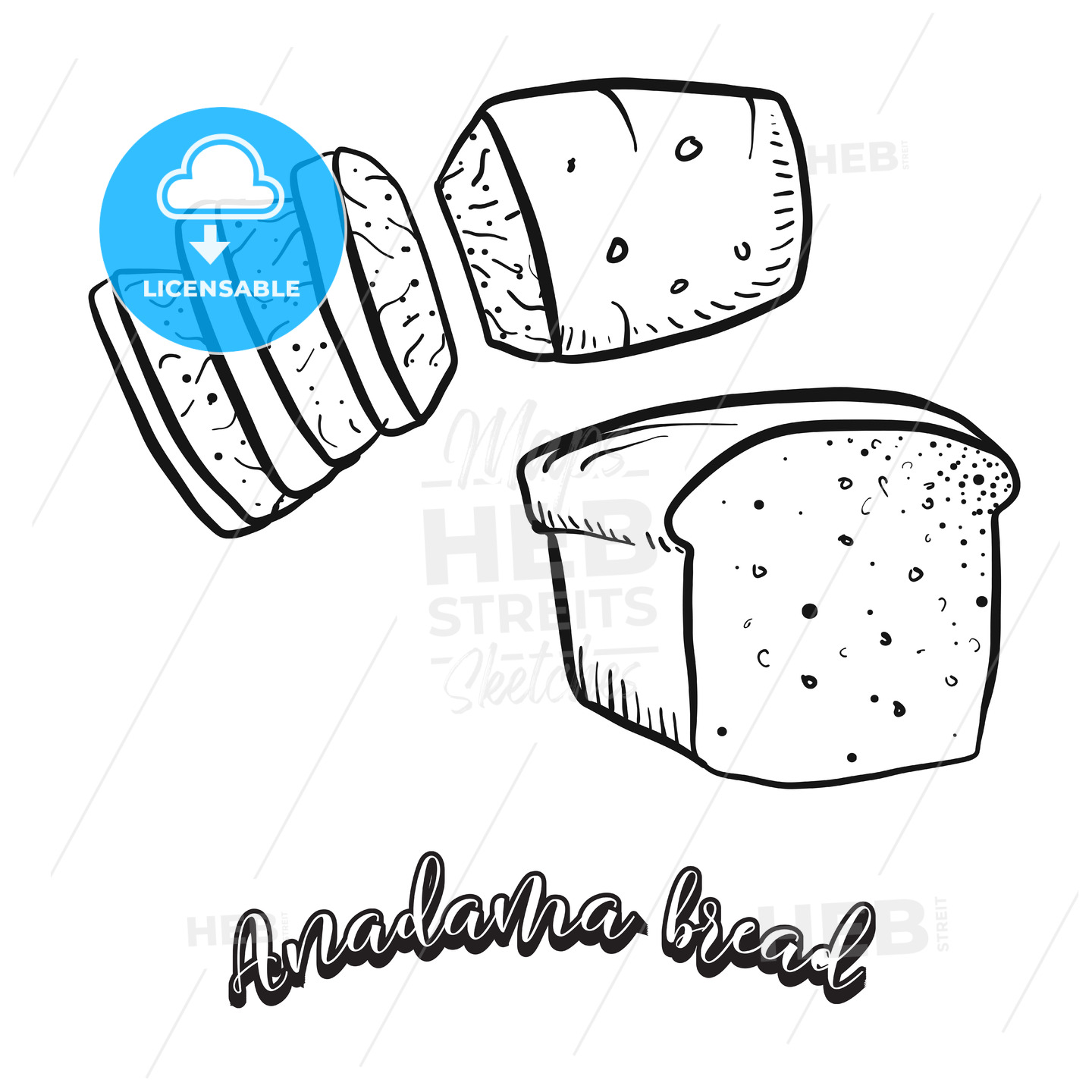 Hand drawn sketch of Anadama bread food - HEBSTREITS