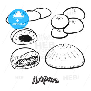 Hand drawn sketch of Anpan food - HEBSTREITS