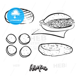 Hand drawn sketch of Arepa food - HEBSTREITS