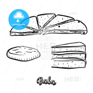 Hand drawn sketch of Baba food - HEBSTREITS