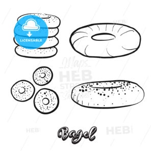 Hand drawn sketch of Bagel food - HEBSTREITS