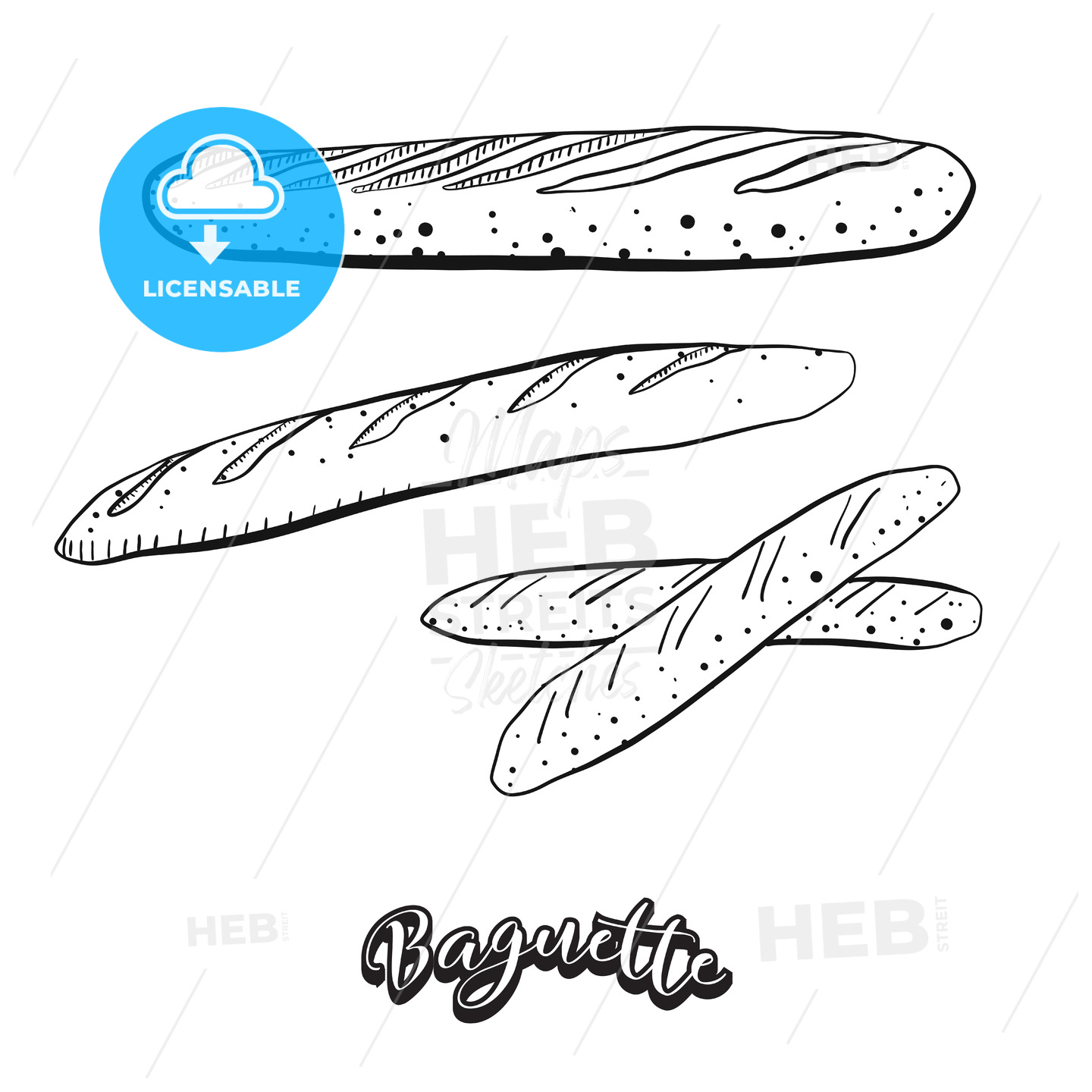 Hand drawn sketch of Baguette food - HEBSTREITS