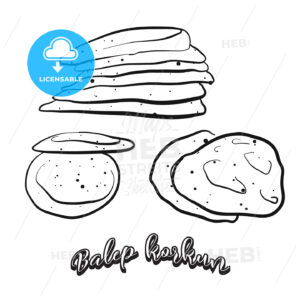 Hand drawn sketch of Balep korkun food - HEBSTREITS