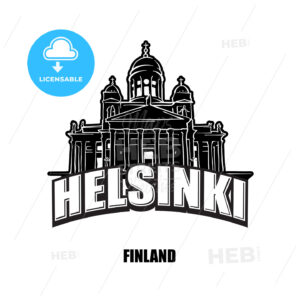 Helsinki, Finland, black and white logo - HEBSTREITS