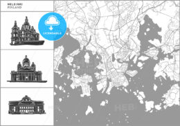 Helsinki city map with hand-drawn architecture icons