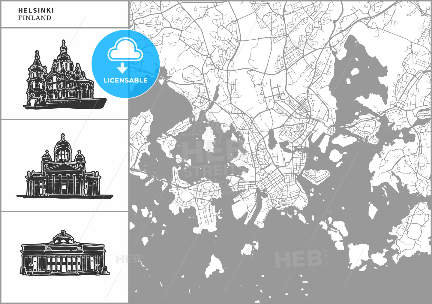 Helsinki city map with hand-drawn architecture icons - HEBSTREITS
