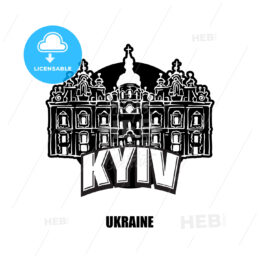 Kyiv, Ukraine, black and white logo