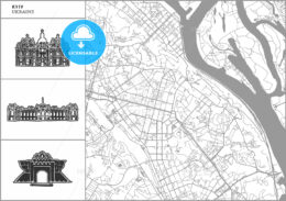 Kyiv city map with hand-drawn architecture icons